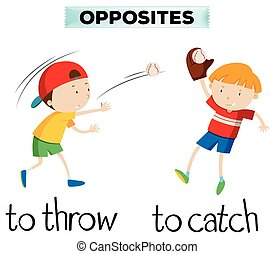 Opposite words with throw and catch illustration