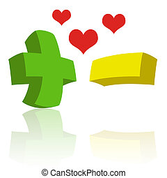 Opposites Attract - Green plus sign with yellow minus sign ...