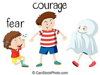 opposto, wordcard, per, paura, e, coraggio