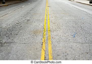 opróżniać, żółty, asfalt, ciągły, barwiony, droga, dwa, surface., kwestia