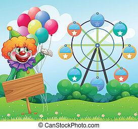opróżniać, balony, wstecz, klown, deska
