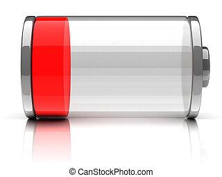 opróżniać, bateria, 3d, ikona