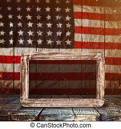 opróżniać, drewniany stół, na, rocznik wina, usa bandera, tło.