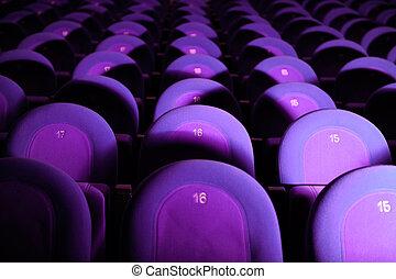 opróżniać, film theater, z, purpurowy, siedzenia