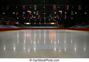 opróżniać, lód, stadion