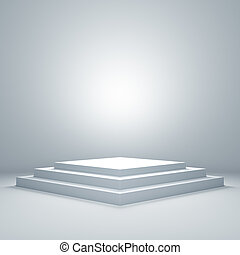 opróżniać, oświetlany, podium