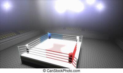 opróżniać, sport, ring, arena., boks