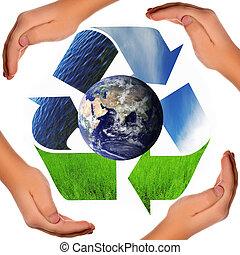 oprócz, świat, -, recycling symbol, kula, i, hands., jakiś, komponenty, czas teraźniejszy czasownika be, pod warunkiem, kurtuazja, od, nasa, mieć, been, zakładać, na, visibleearth.nasa.gov