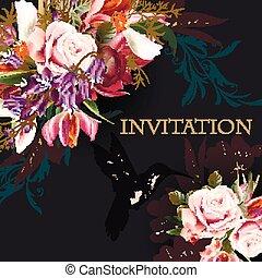 oprócz, fason, bez, róża, ilustracja, tło, data, kwiaty, ...