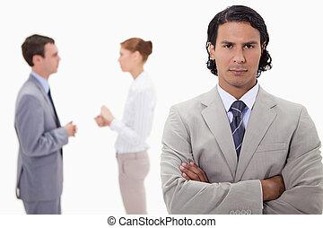 opravdový, obchodník, s, mluvící, kolega, pozadu, ho