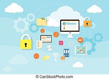 opslag, computer, apparaat, veiligheid, data, wolk