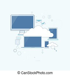opslag, computer, mager, apparaat, veiligheid, data, lijn, wolk