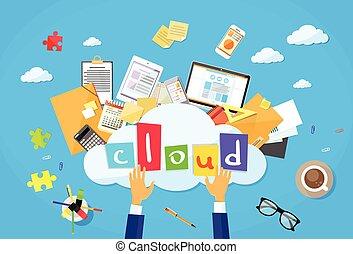 opslag, wolk, informatie, data, internet, computertechnologie