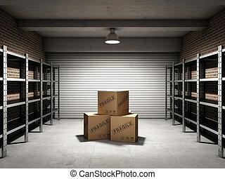 opslagruimte, met, dozen, en, planken