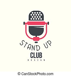 opstaan, club, ontwerp, komedie, tonen, meldingsbord, met, retro, microfoon, vector, illustratie, op, een, witte achtergrond