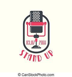 opstaan, logo, komedie, merken aanplakbiljet, met, retro, microfoon, en, datum, vector, illustratie, op, een, witte achtergrond
