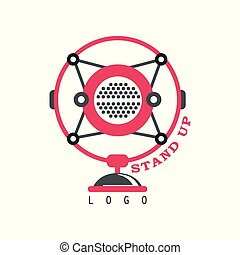 opstaan, logo, komedie, tonen, meldingsbord, met, retro, microfoon, vector, illustratie, op, een, witte achtergrond