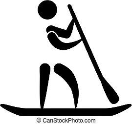 opstaan, paddling, pictogram