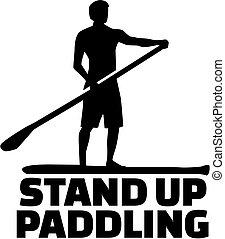 opstaan, paddling, woord, met, silhouette