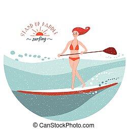 opstaan, peddel, surfing