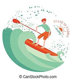 opstaan, peddel, surfing, jongen