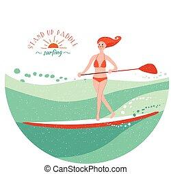 opstaan, peddel, surfing, meisje