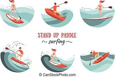 opstaan, peddel, surfing, set
