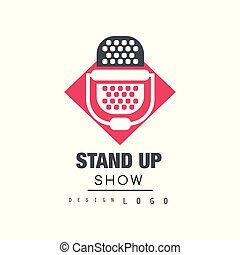 opstaan, tonen, logo, ontwerp, komedie, club, meldingsbord, met, retro, microfoon, vector, illustratie, op, een, witte , achtergrond.