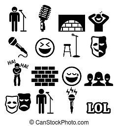 opstaat komedie, amusement, pictogram