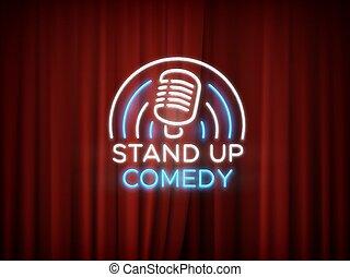 opstaat komedie, buitenreclame, met, microfoon, en, rood gordijn, vector, achtergrond