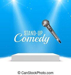 opstaat komedie, gebeurtenis, poster., vector, microfoon, illustration., concert, komedie, tonen, met, toneel