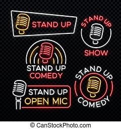 opstaat komedie, helder, neon, vector, tekens & borden