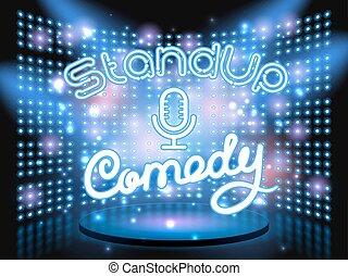 opstaat komedie, licht, muur