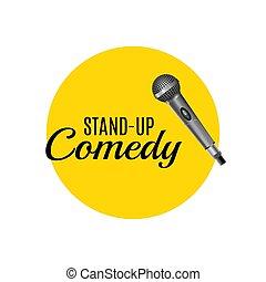 opstaat komedie, mal, vector, logo., opstaan, collectief, bevordering, symbool, reclame, spandoek