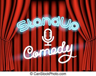 opstaat komedie, rood gordijn