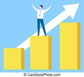 opstand, grafiek, vector, succes, zakelijk, arbeider