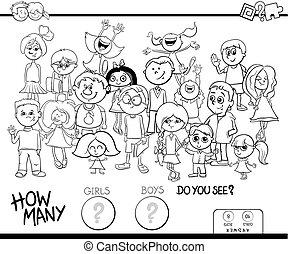 optælling, piger drenge, boldspil, coloring bog