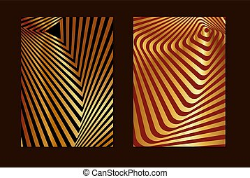 Set striped gold and red opt art. Geometric optical illusion with stripes. Abstract background, card. Vector illustration.