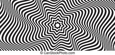 Opt illusion background. Optical illusion banner, distorted black and white lines. Vector illustration