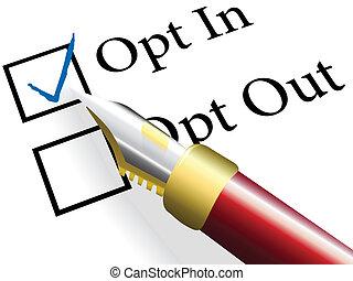 opt, opción, opción, pluma, elegir, cheque