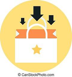 optellen, om te, winkeltas, thema, plat, stijl, kleurrijke, vector, pictogram