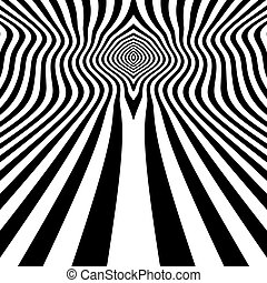 Optical Art. 3d Vector Illustration - Black and White...