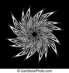 optical art abstract twisted flower illustration