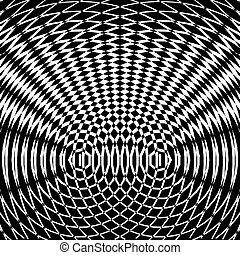Optical art background. Black and white mosaic pattern....