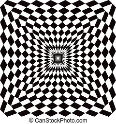 Optical perspective checkered pattern in black and white repeats seamlessly.