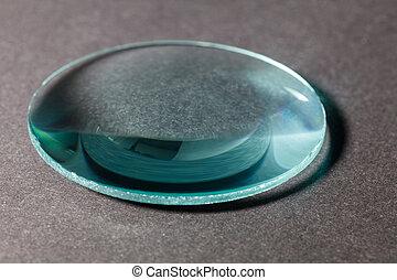 Optical convex lens, glass lens close up.