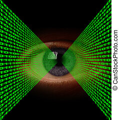 Optical Data Transfer - Lines of binary code flowing into an...