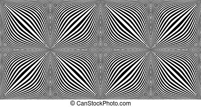 Optical expansion illusion. Motion illusion - swell.  Halftone bloat effect optical illusion. Monochrome motion illusions. Checkered seamless pattern with optical illusion of spherical volume, black and white geometric abstract background.