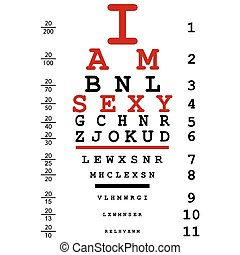Optical eye test used by doctors with text I am sexy