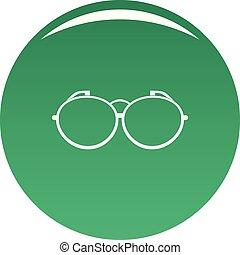 Optical eyeglasses icon vector green
